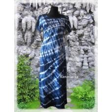 šaty-tmavěmodrá batika do 7XL