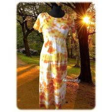 šaty - Oranžová batika do vel. 7XL