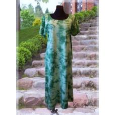 šaty - zelené s malbou