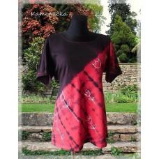 tunika černočervená s tuliipány do vel. 7XL