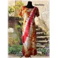 šaty-červeno-žlutot-bílá batika s pruhem do vel. 7XL