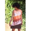 šaty krátké oranžovo-hnědá batika do vel. 7XL