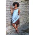 šaty krátké - hnědotyrkysové do vel. 7XL
