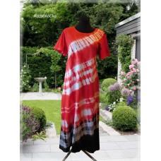 dámské šaty - batika červenočerná