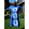 šaty krátké - modrá batika do vel. 2XL