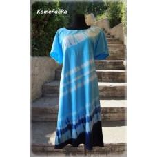 batikováné šaty -tyrkysovomodré