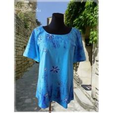 modrá sypaná batikovaná tunika do vel. 7XL