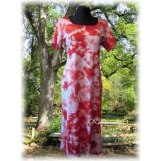 šaty -červená batika do vel. 7XL